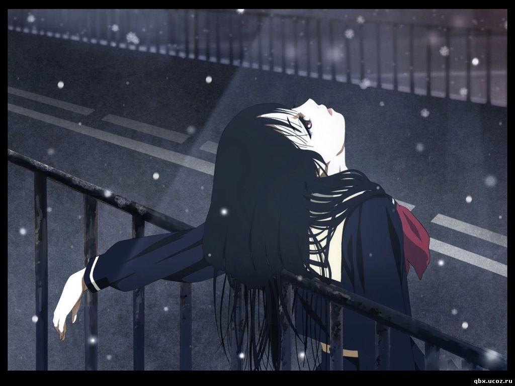 Красивая картинка девушка мост аниме