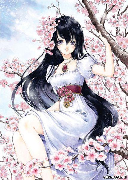 девушки аниме с черными волосами: